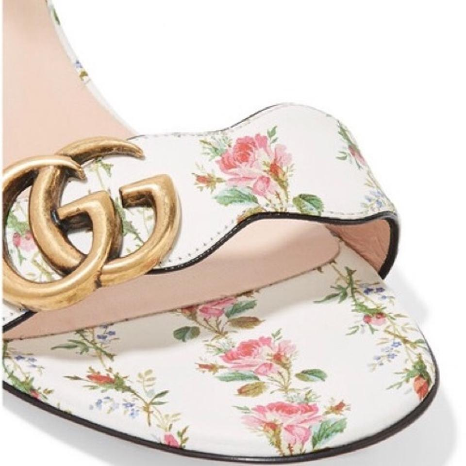 068950041 Gucci White Marmont 75mm Rose Printed G Sandals Size EU 37.5 (Approx ...