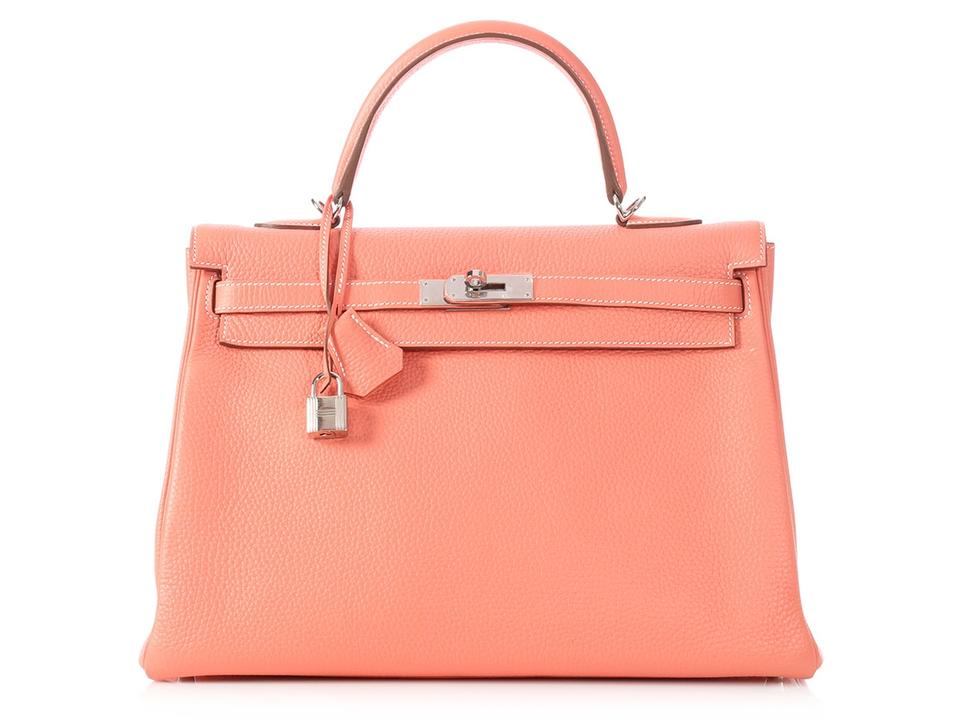 e0a2dd6917 Hermès Kelly   cr   35 Clemence Crevette Pink Leather Satchel - Tradesy