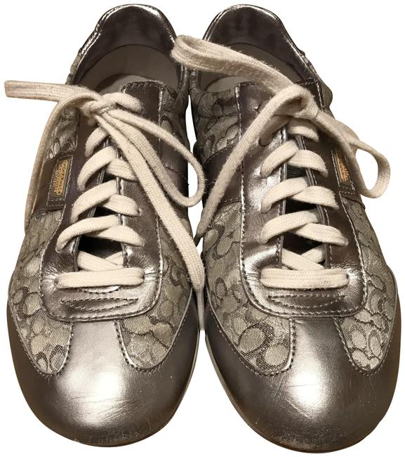 Item - Silver Shiny Leather/ Logo Fabric 7) Sneakers Size US 7 Regular (M, B)