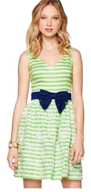 Lilly Pulitzer Green Roswell Resort Striped Fit and Flare Short Casual Dress Size 10 (M) Lilly Pulitzer Green Roswell Resort Striped Fit and Flare Short Casual Dress Size 10 (M) Image 1