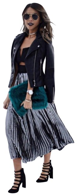 Item - Black and Gray Metallic Piper Pleated Midi Mid-length Night Out Dress Size 12 (L)