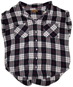 JACHS Plaids Checks Sleeveless Boyfriend Shirt Button Down Shirt Navy Blue, White, Red