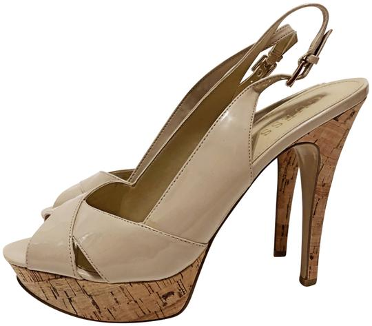 Guess Cork Peep Toe Slingback Spring Light natural Platforms Image 0