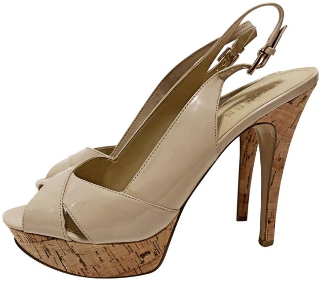 Guess Light Natural Cork Slingback Peep Toe Platforms Size US 7.5 Regular (M, B) Guess Light Natural Cork Slingback Peep Toe Platforms Size US 7.5 Regular (M, B) Image 1