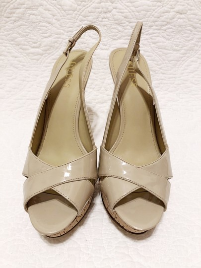 Guess Cork Peep Toe Slingback Spring Light natural Platforms Image 1