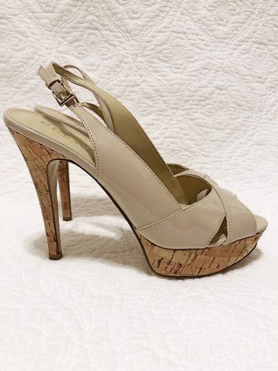 Guess Cork Peep Toe Slingback Spring Light natural Platforms Image 2