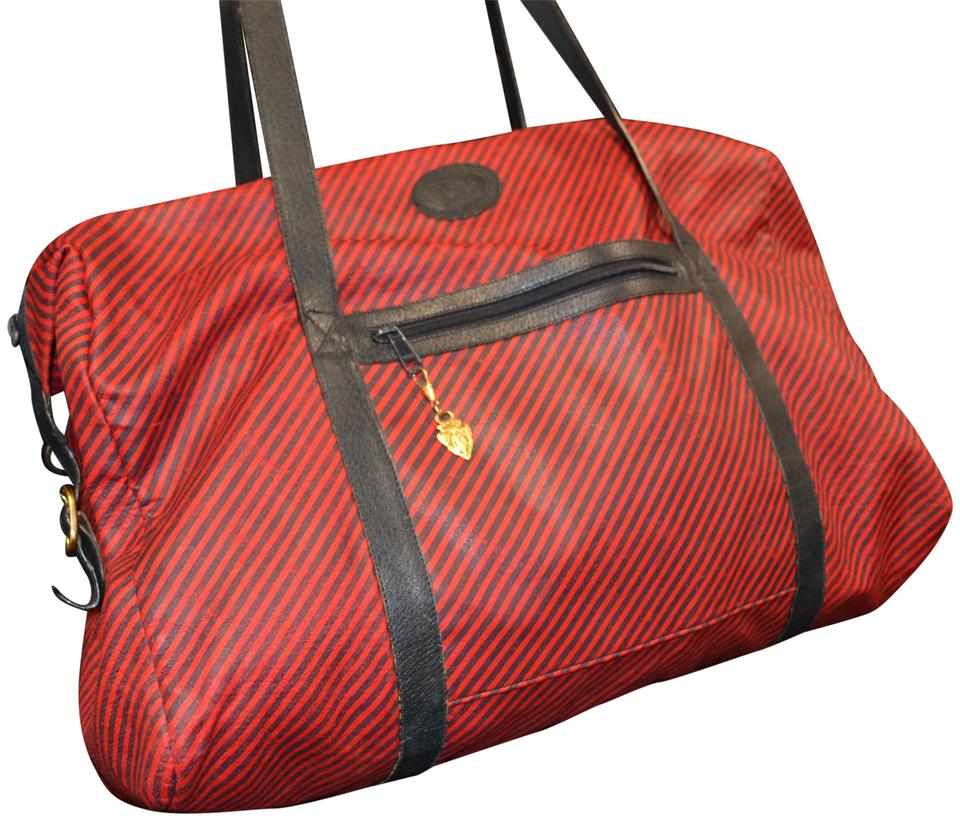 66407fb938 Gucci Duffel Red and Navy Blue Canvas Weekend Travel Bag - Tradesy