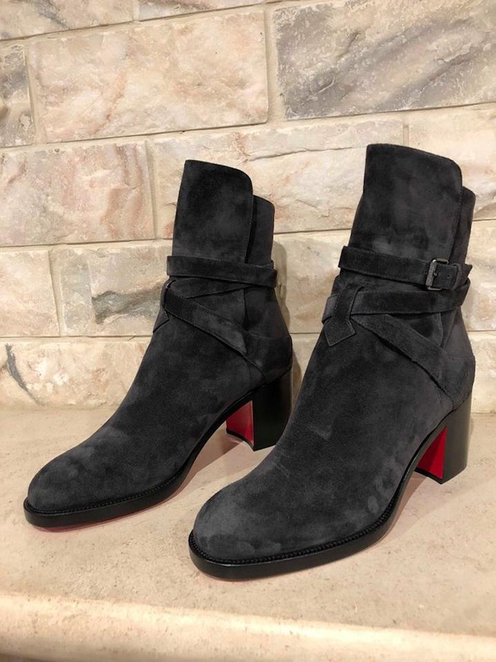 super popular 17807 9bb84 Christian Louboutin Grey Karistrap 70 Charbon Suede Ankle Heel  Boots/Booties Size EU 40 (Approx. US 10) Regular (M, B) 19% off retail