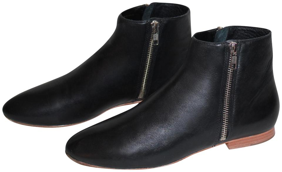 e1ad84beeee9 Loeffler Randall Leather Silver Hardware Round Toe Zip Black Boots Image 0  ...