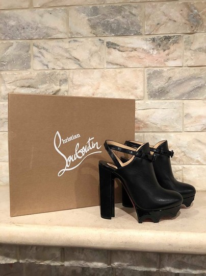 Christian Louboutin Forgeron Stiletto Platform Bootie Ankle Strap Black Pumps Image 1