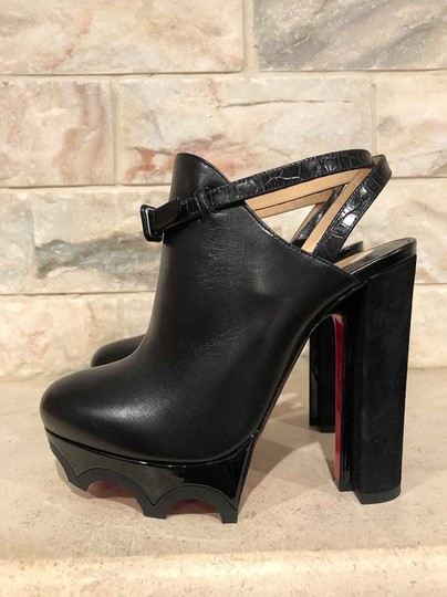 Christian Louboutin Forgeron Stiletto Platform Bootie Ankle Strap Black Pumps Image 9