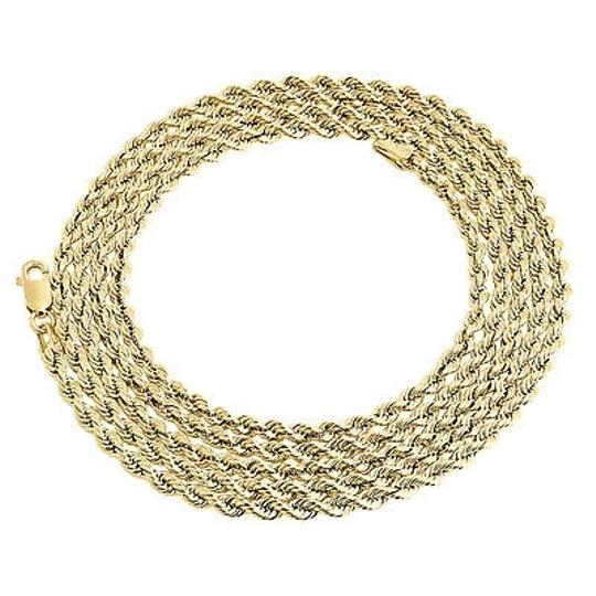 Jewelry For Less 10k Yellow Gold Mens Or Ladies Hollow Rope Chain Necklace Mm 16 - 30 Inch