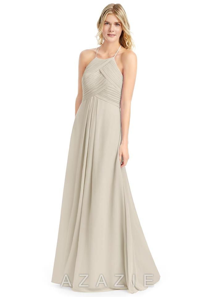 Azazie Taupe Chiffon Ginger Formal Bridesmaid/Mob Dress Size 6 (S ...