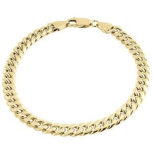 Other 10k Yellow Gold Miami Cuban Handmade Bracelet Mens Hollow Link 6mm 8 9