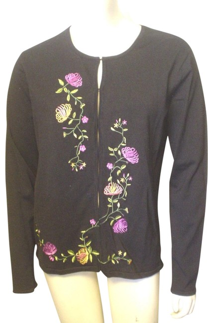 Knit Embroidered Flowers Cardigan S Career Casual Black Sweater Knit Embroidered Flowers Cardigan S Career Casual Black Sweater Image 1