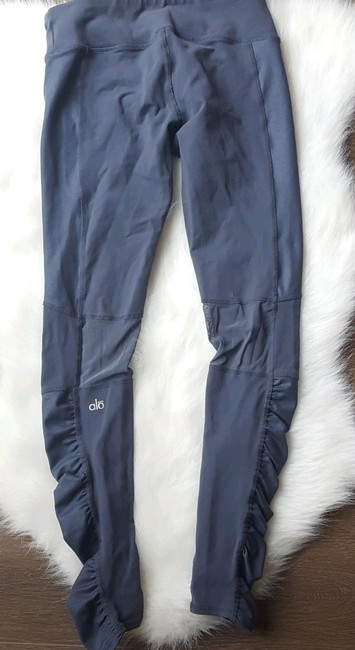 ALO Yoga Runway Ruched Paneled Performance Pants, Ombre Blue/Glossy Image 3