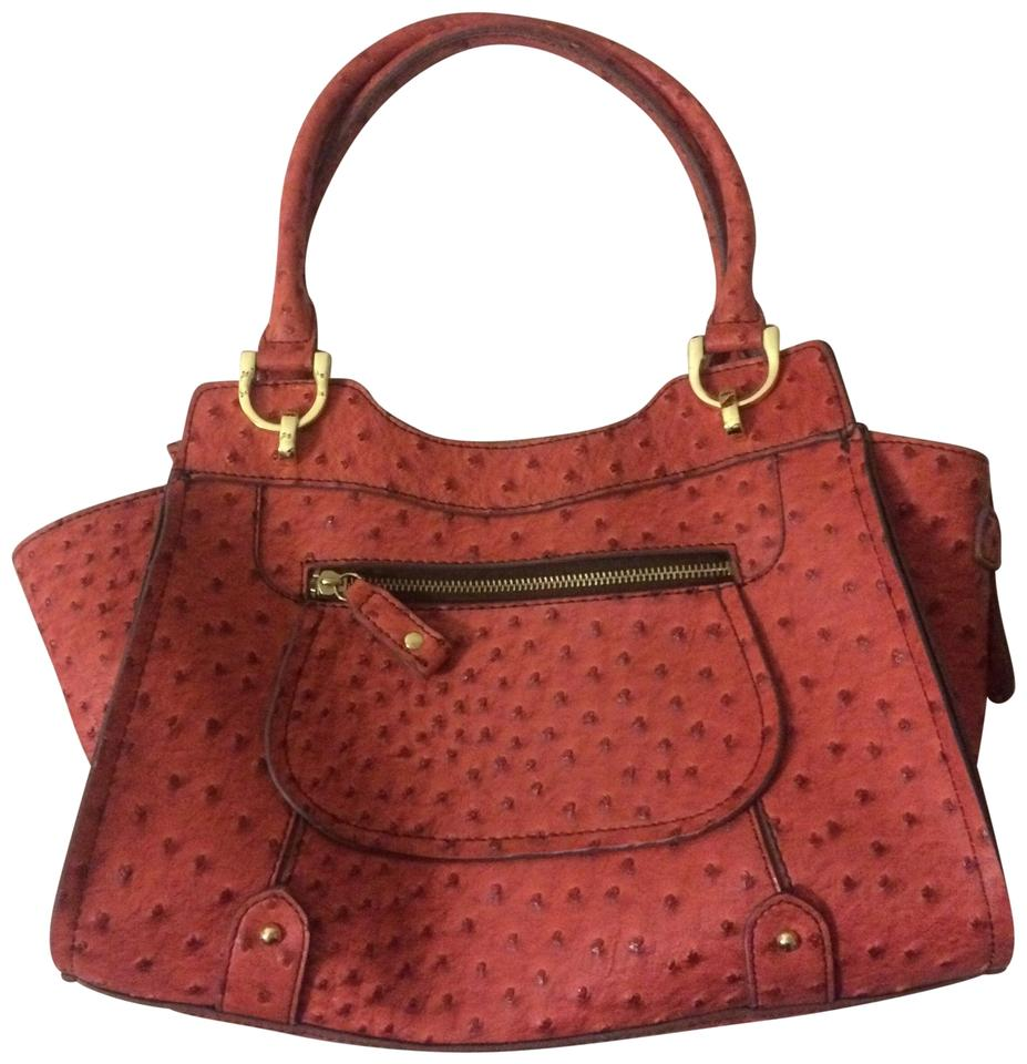 London Fog Handbag Coral Ostrich Texture Leather Satchel Tradesy