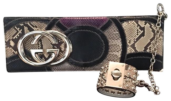 Gucci Rare Patchwork Studded Cuff Python Clutch Gucci Rare Patchwork Studded Cuff Python Clutch Image 1