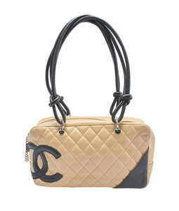 Chanel Lambskin Leather Satchel in TanxBlack