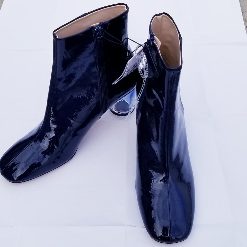 6981ef87aabb Zara Navy Patent Finished High Heel Ankle Boots Booties Size EU 39 (Approx.  US 9) Regular (M