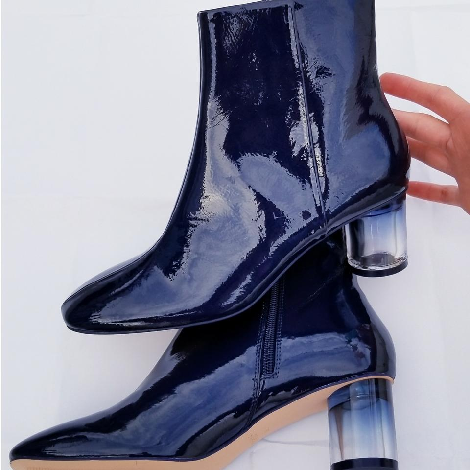 f003745d51e6 Zara Navy Patent Finished High Heel Ankle Boots Booties Size EU 39 ...