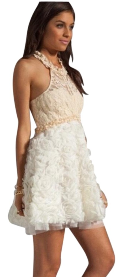 Free People Cream Bouquet Mid-length Cocktail Dress Size 6 (S) - Tradesy