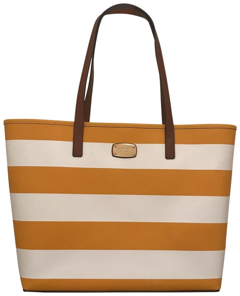 official store release date clear-cut texture Michael Kors New Jet Set Travel Stripe Saffiano Yellow White Leather Tote  37% off retail