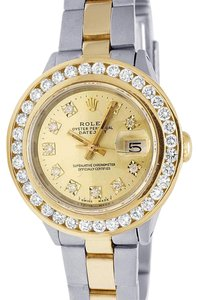 Rolex Datejust Two Tone 18K/ Steel 26MM Champagne Dial Diamond Watch 3.0 Ct