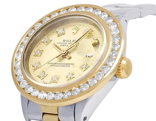 Rolex Datejust Two Tone 18K/ Steel 26MM Champagne Dial Diamond Watch 3.0 Ct Image 2