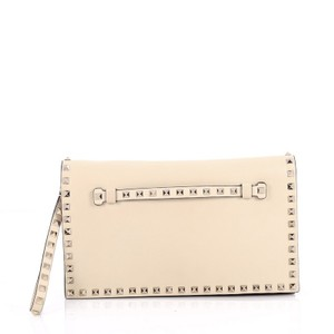 Valentino Rockstud Leather White Clutch
