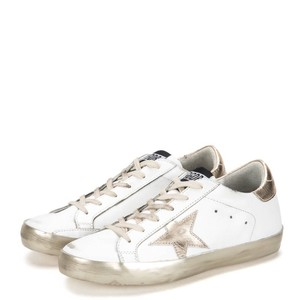 Golden Goose Deluxe Brand Distressed Casual On Trend Metallic Leather White and Gold Athletic
