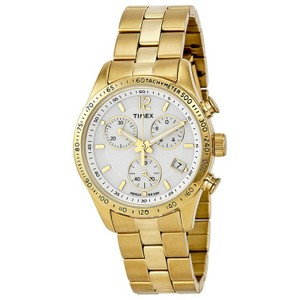 Timex T2P058 Chronograph Women's Gold Steel Band With White Analog Dial