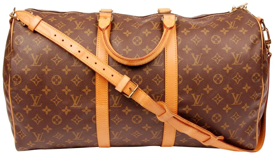 884e32d8a123 Louis Vuitton Keepall 50 Monogram Leather Canvas Duffle Brown Travel Bag  Image 0 ...