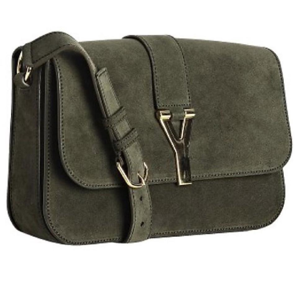 Green Suede Saint Shoulder Laurent Bag Army qwztOE7n