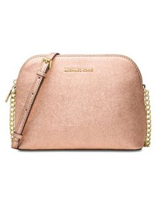 19ec7328c934 Michael Kors Cindy Large Dome Embossed Soft Pink Leather and Fabric ...