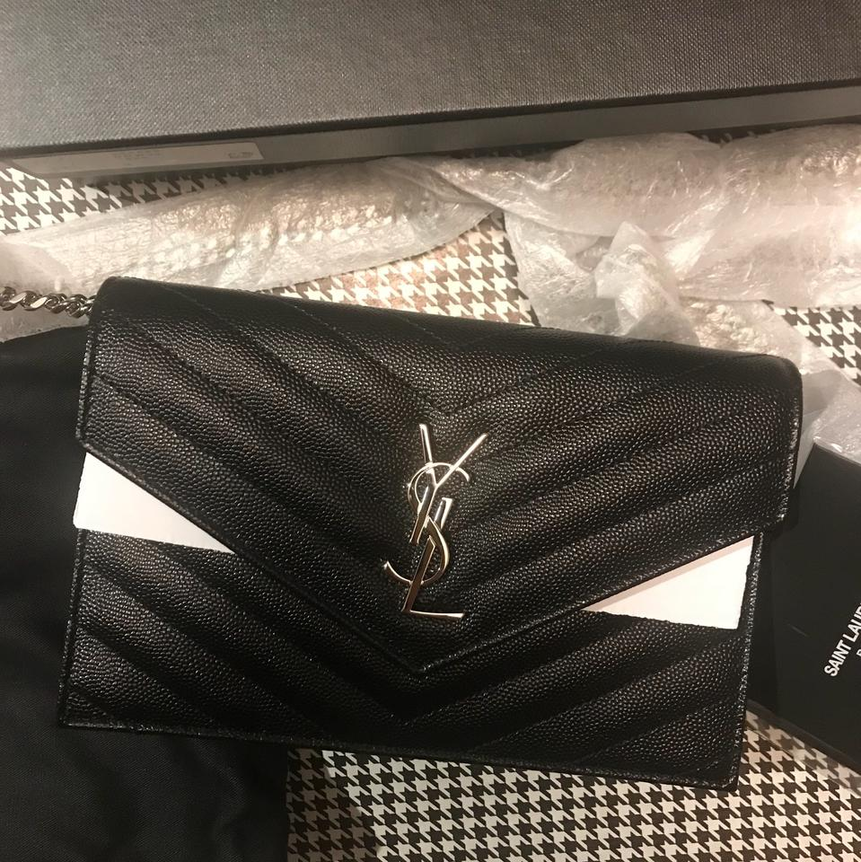 49ad3f3795aa Saint Laurent Chain Wallet Ysl Monogram Quilted Envelope Clutch ...