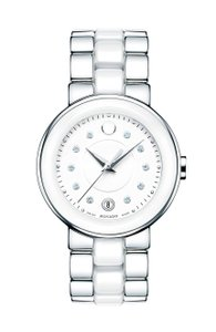"Movado Movado 0606540 ""Cerena"" White Ceramic Diamond Watch 36 mm"