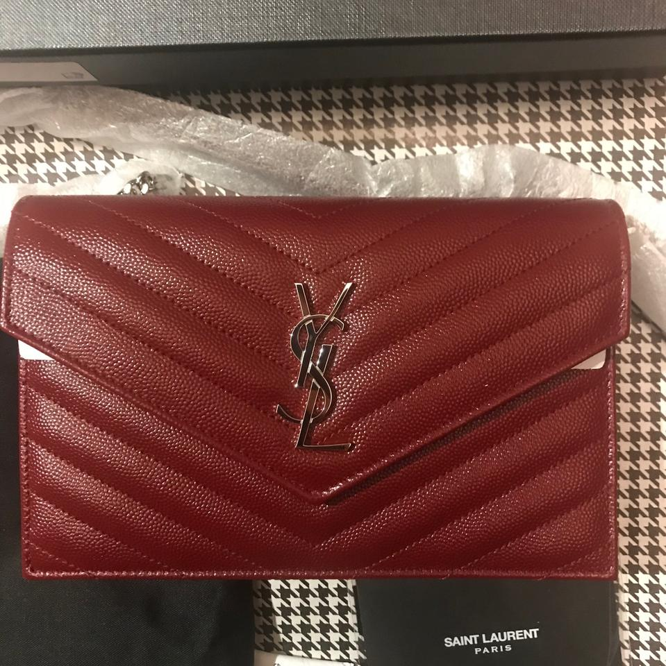 7aff180ca1a1 Saint Laurent Chain Wallet Ysl Monogram Quilted Envelope Clutch Deep ...