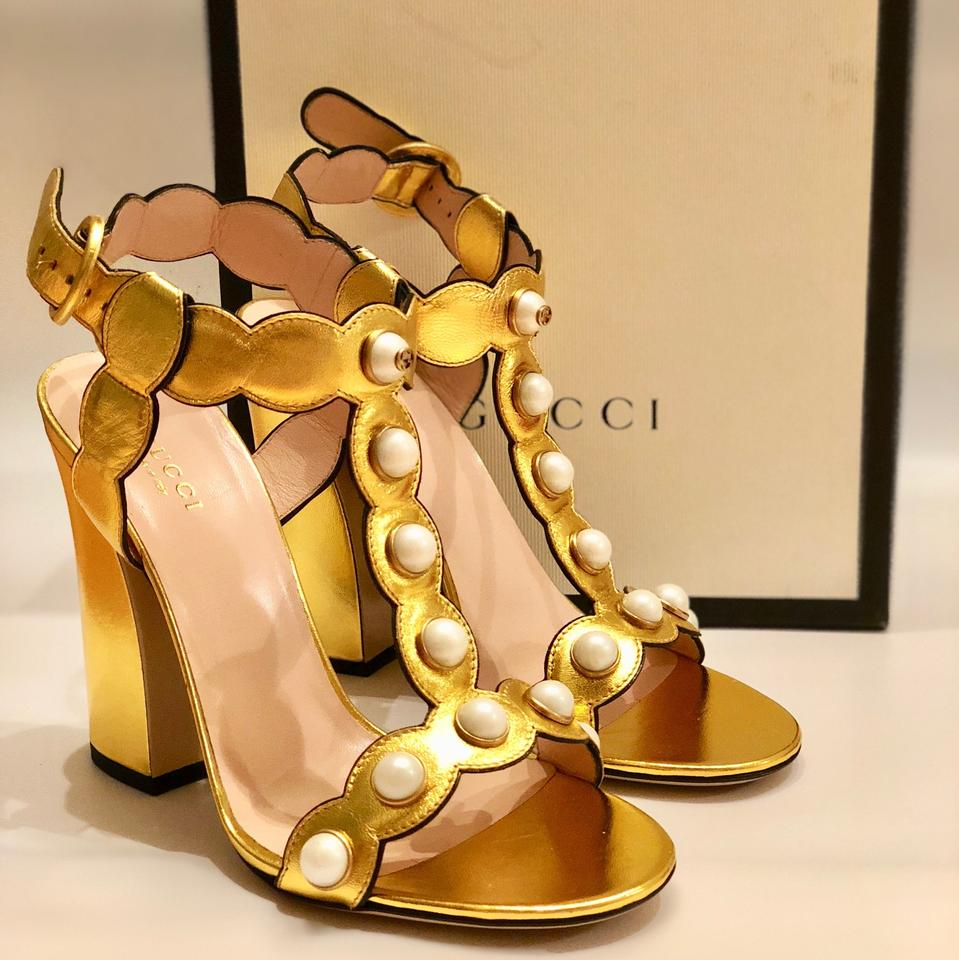 13d17c7d0 Gucci Gold Leather Pearls T Strap Sandals Size EU 38.5 (Approx. US ...