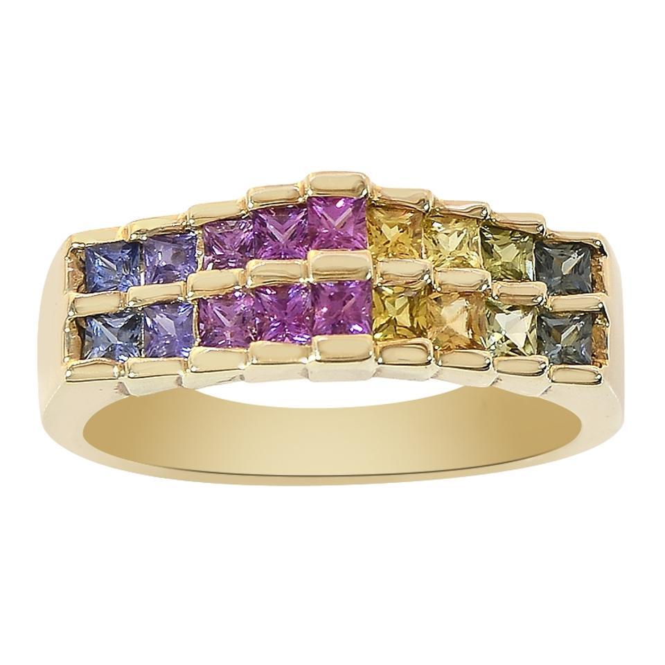 cb0ef9d863 Avital & Co Jewelry 1.00 Carat Multicolor Rainbow Sapphire Staircase Ring 14K  Yellow Gold Image 0 ...