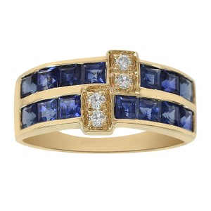 Avital & Co Jewelry 1.00 Carat Sapphire & 0.12 Carat Diamond Ring 14K Yellow Gold