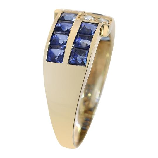 Avital & Co Jewelry 1.00 Carat Sapphire & 0.12 Carat Diamond Ring 14K Yellow Gold Image 1