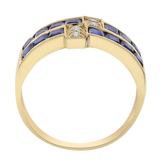 Avital & Co Jewelry 1.00 Carat Sapphire & 0.12 Carat Diamond Ring 14K Yellow Gold Image 2