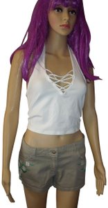 Express New With Tags Crop Lattice Criss Cross White Halter Top
