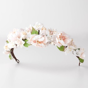 Elegance by Carbonneau Light Pink Ivory Peach Soft Fabric Organza Girl Headband Head Wreath Hair Flower Hair Crown Tiara