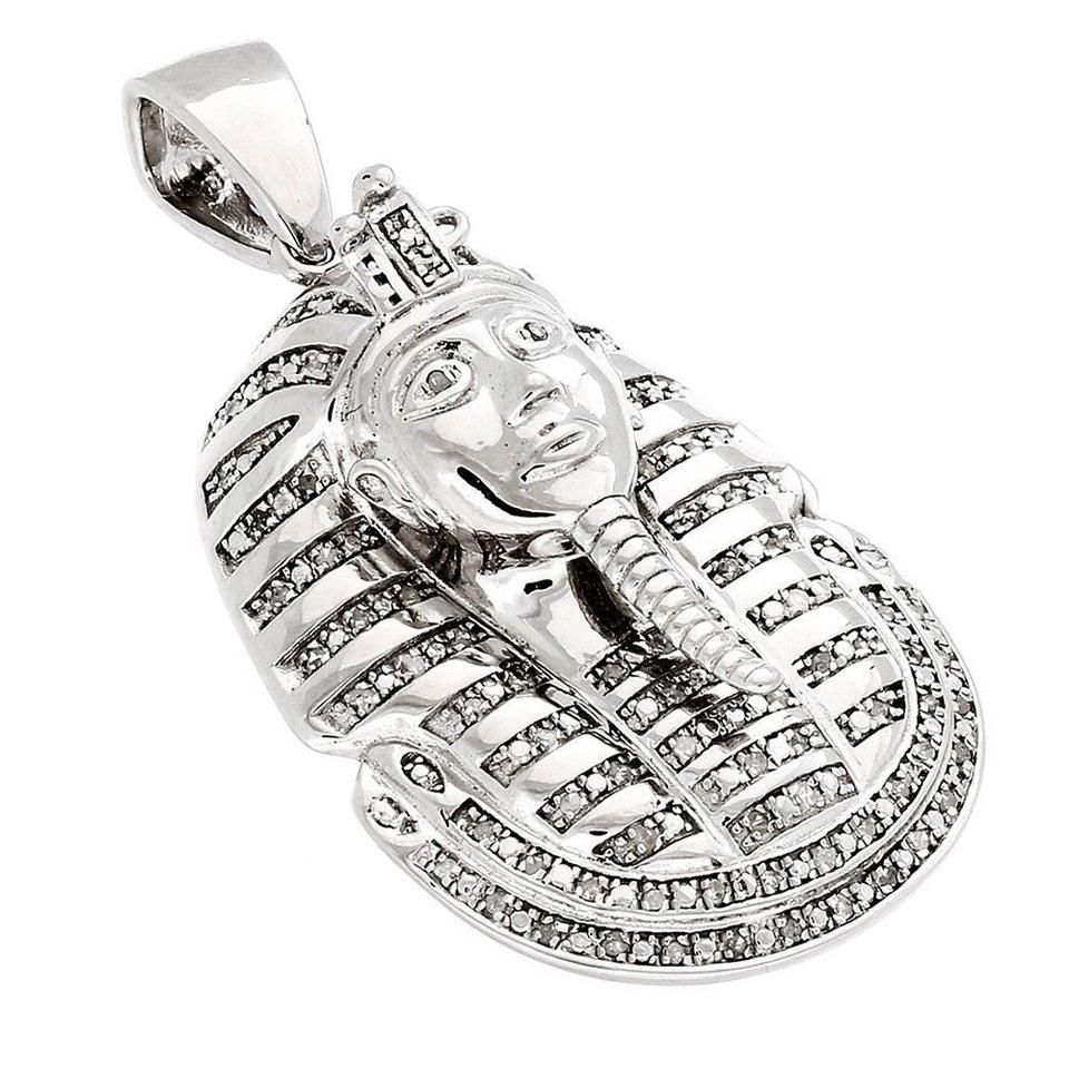 Jewelry for less silver diamond king tut tutankhamun pendant 925 jewelry for less diamond king tut tutankhamun pendant 925 sterling silver charm 50 ct aloadofball Gallery