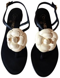 ae8f35acee0a Chanel Leather Ankle Strap Cc Camellia Flats Black Sandals