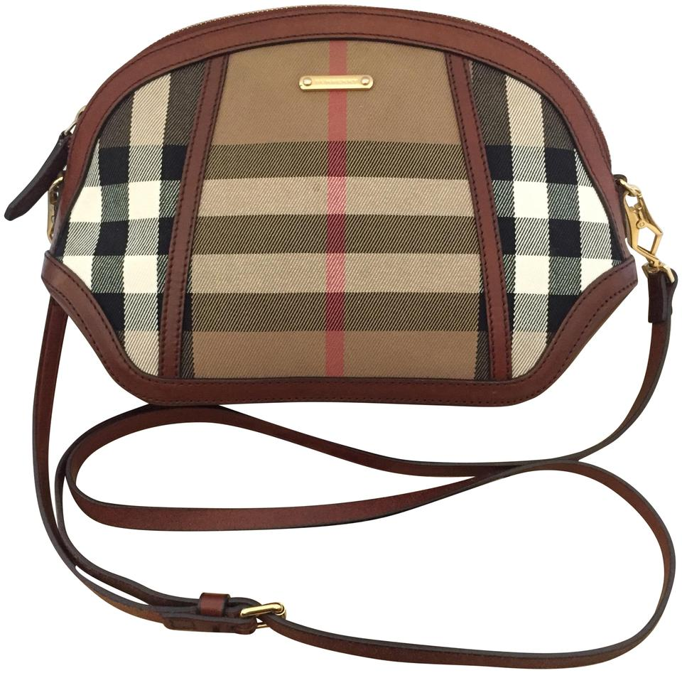Burberry House Orchard Euc Dark Tan Leather   Canvas Cross Body Bag ... 32820f7f08c1d