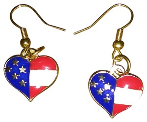 unknown Stainless Steel USA Patriotic Heart Shaped Dangle or Drop Earrings