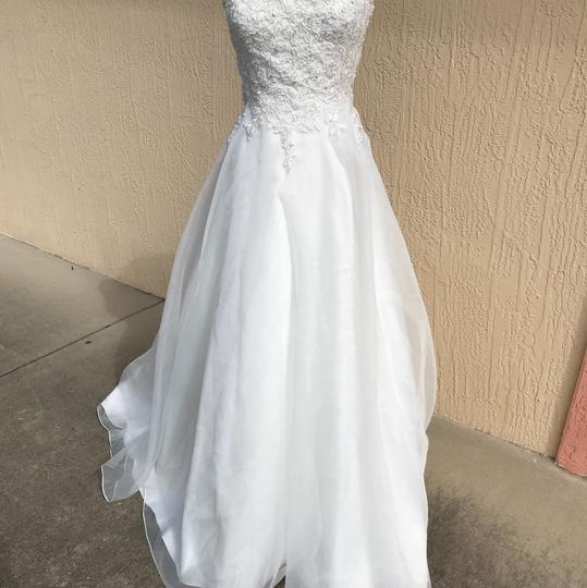 Justin Alexander Ivory Lace and Organza Sweetheart By 6188 Traditional Wedding Dress Size 14 (L) Image 1